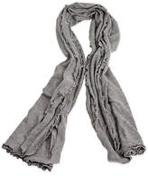 One Kings Lane Lettuce Edged Cashmere-Blend Wrap - Gray