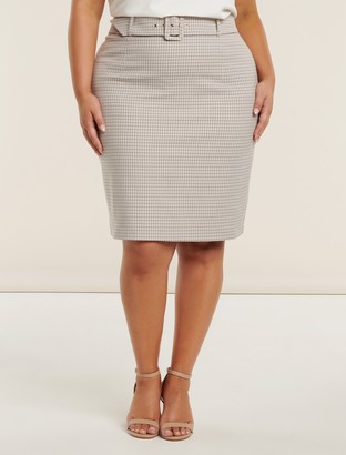 Forever New Carrie Curve Check Pencil Skirt - Check - 22