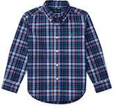 Ralph Lauren Long-Sleeve Plaid Cotton Poplin Shirt, Royal Blue/Multicolor, Size 2-4