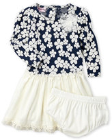 nanette (Infant Girls) Two-Piece Navy Floral Tulle Dress & Bloomers Set