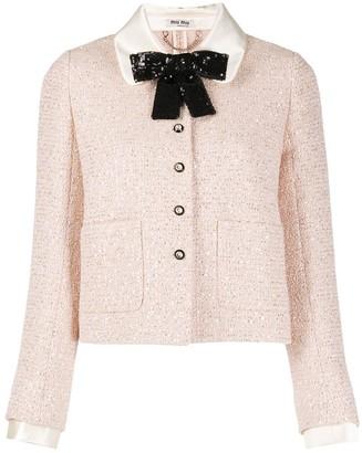 Miu Miu Peter-Pan Collar Tweed Jacket