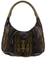 Devi Kroell Snakeskin-Trimmed Shoulder Bag