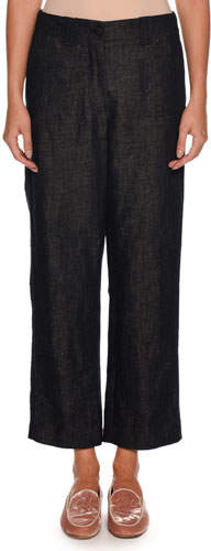 Giorgio Armani Wide-Leg Cotton-Linen Denim Pants