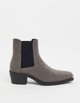ASOS DESIGN cuban heel western chelsea boot in gray faux suede with square toe with metal cap