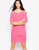 Love Moschino Off The Shoulder Dress With Buckle Straps