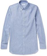 Boglioli Slim-Fit Button-Down Collar Striped Linen and Cotton-Blend Shirt