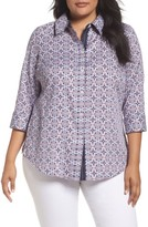 Foxcroft Plus Size Women's Ava Non-Iron Tile Print Cotton Shirt