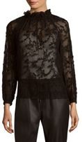 Rebecca Taylor Ellie Long-Sleeve Embellished Top