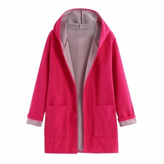 Younthone Coats for Women Medium Long Large Size Loose Front Open Coat Coats Artificial Wool Ladies Jacket Cotton Blend Soft and Comfortable Hooded Jacket with Pocket Warm Clothes Casual(Pink XXXXXL)