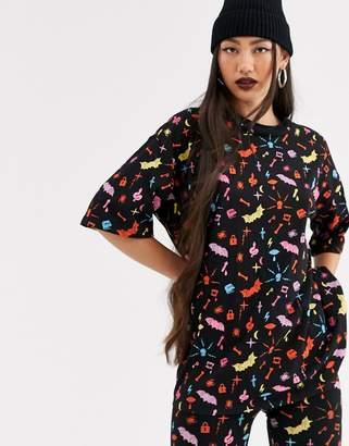 Monki Halloween print oversized longline t-shirt in black