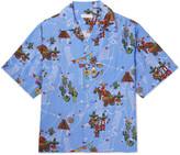 Prada Camp-Collar Printed Satin Shirt