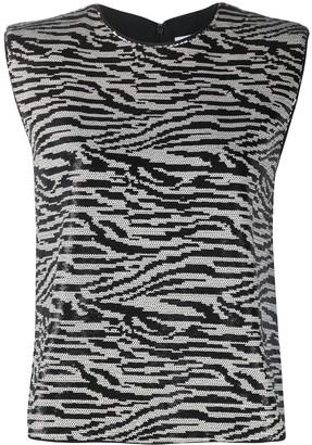 Self-Portrait Zebra-Print Sleeveless Top