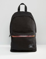 Asos Backpack In Black Canvas With Iridescent Zip