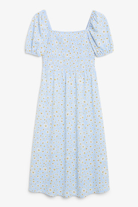 Monki Midi shirred dress