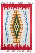 Geometric Wool Area Rug in Crimson and Pumpkin (4x6), 'Sacred Maize'