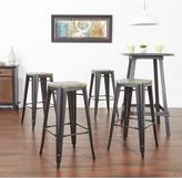 Work Smart 30 in. Antique Metal Barstool with Vintage Wood Seat in Black Finish Frame and Ash Cameron Finish Seat (2-Pack)