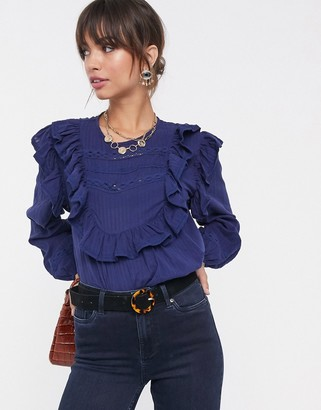ASOS DESIGN long sleeve top with ruffle and lace insert-No Color
