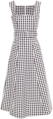 Emilia Wickstead Petra Belted Gingham Cloque Midi Dress