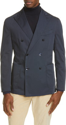 Boglioli Trim Fit Double Breasted Solid Stretch Cotton Sport Coat