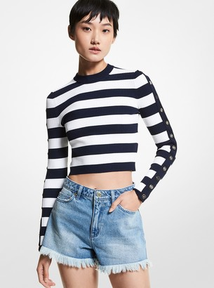 MICHAEL Michael Kors Striped Stretch Viscose Cropped Sweater