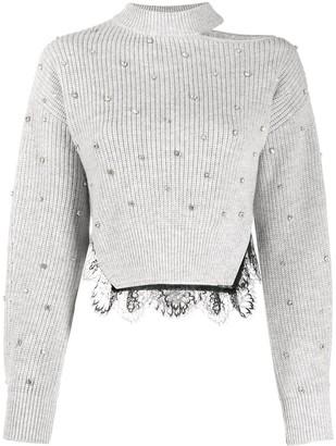 Self-Portrait Lace-Hem Crystal Sweater