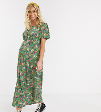 Mama Licious Mamalicious Maternity maxi tea dress in green floral