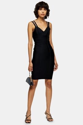 Topshop Womens Black Bandage Midi Dress - Black