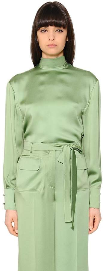 Valentino Draped Matte Silk Satin Fluid Blouse
