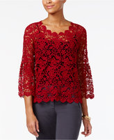 Alfani Cotton Crocheted Top, Only at Macy's