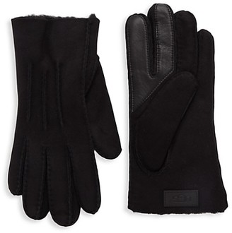 UGG Shearling-Trim Leather & Suede Gloves