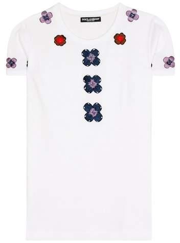 Dolce & Gabbana Exclusive to mytheresa.com – embellished appliqué cotton T-shirt