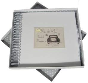 White Cotton Cards Mr and Mrs Wedding Cards and Memories Book Wedding Car Range