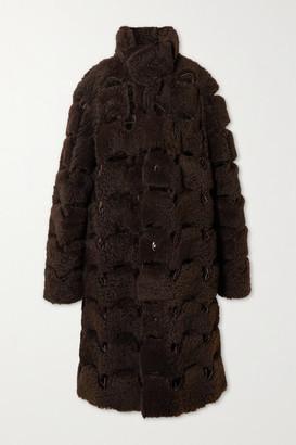 Bottega Veneta Oversized Cutout Shearling Coat - Brown