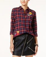 Polly & Esther Juniors' Emoji Patch Plaid Shirt
