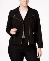 Calvin Klein Plus Size Faux-Leather-Pocket Moto Jacket
