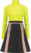 DELPOZO Embellished velvet and crepe turtleneck mini dress