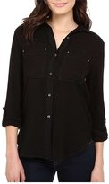 Calvin Klein Jeans Women's Airflow Utility Shirt Button-up Shirt LG (Women's 12-14)