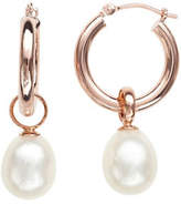 Honora Style 8MM-9MM Pearl and 14K Rose Gold Hoop Drop Earrings