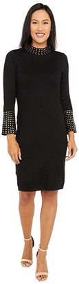 Calvin Klein Sweaterdress with Embellished Neck and Cuff (Black) Women's Dress