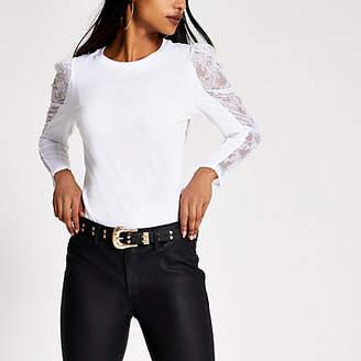 River Island Petite white lace long puff sleeve T-shirt