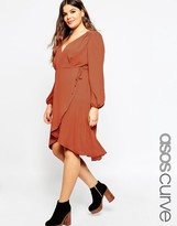 Asos Midi Dress with 70's Blouson Sleeve and Wrap Front