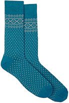 Barneys New York MEN'S FAIR ISLE COTTON-BLEND MID-CALF SOCKS-TURQUOISE, GREY