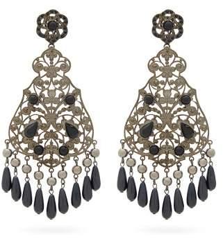Etro Beaded Drop Earrings - Womens - Black