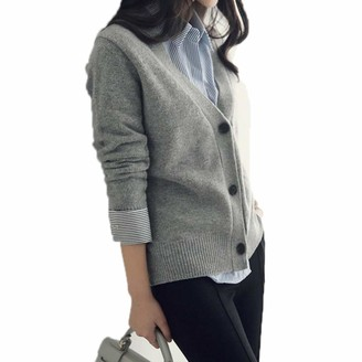 Guy Eugendssg Fall Winter Clothes Thick Cashmere Sweaters Women V-Neck Cardigan Knitting Wool Long Sleeve Gray M
