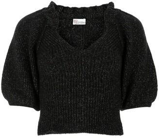 RED Valentino V-Neck Glitter Sweater