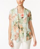 Alfred Dunner Botanical Garden Floral-Print Layered-Look Top