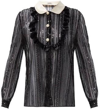 Miu Miu Peter Pan-collar Sequinned Blouse - Black