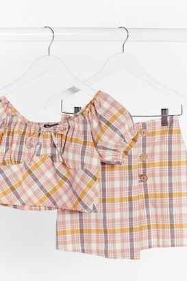 Nasty Gal Womens Check Up On It Linen Puff Sleeve Top - Pink - 4, Pink