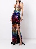 Thumbnail for your product : ZUHAIR MURAD Gradient-Sequin Halterneck Gown