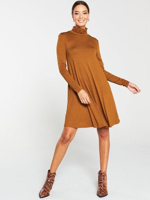 Very Roll Neck Fit & Flare Dress - Camel
